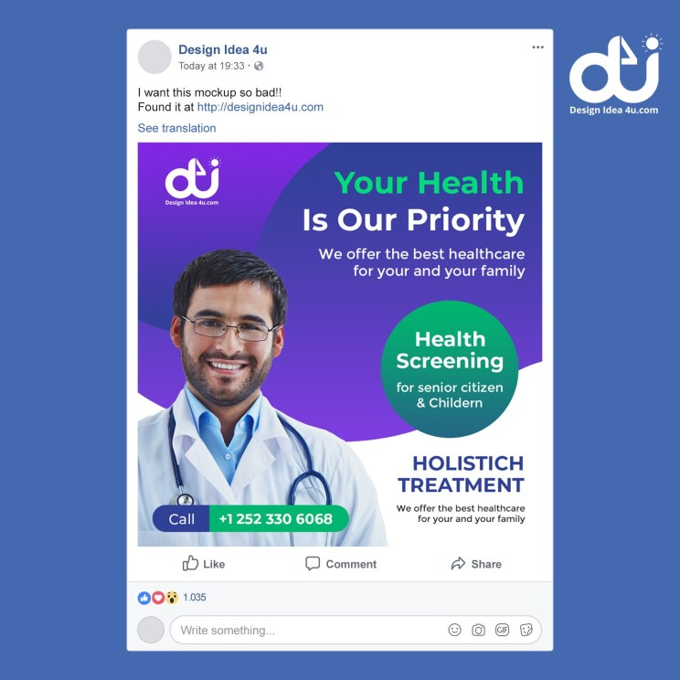 Medical health social media post or square flyer template