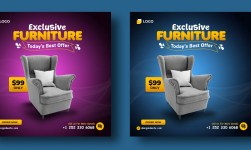 Furniture Social Media Instagram Post PSD Template