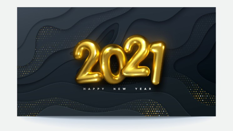 New Year 2021 Background realistic golden text balloons
