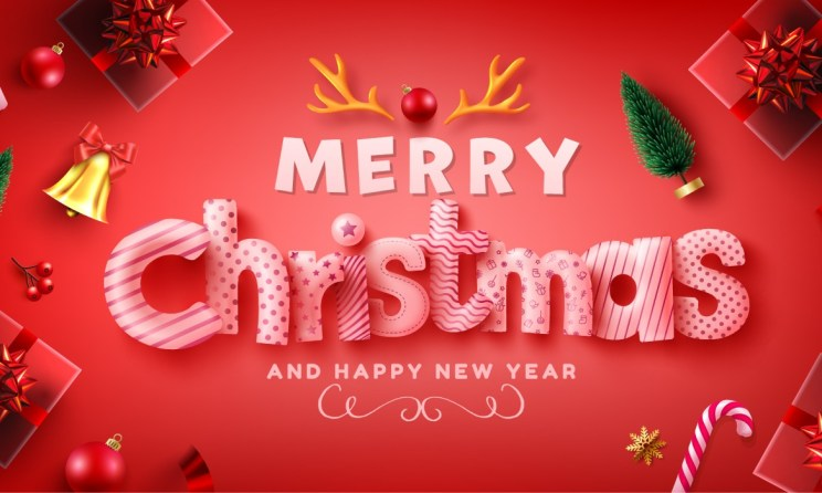 Merry christmas and happy new year background with realistic gift boxes