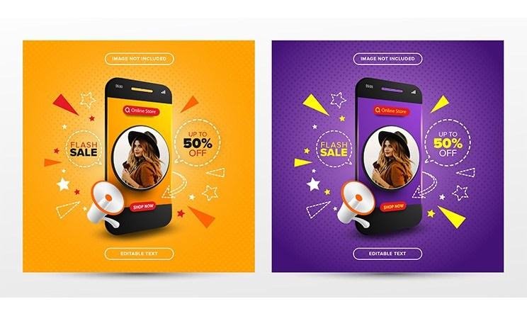 Flash Sale Online Shopping Promotion On Social Media Post Template