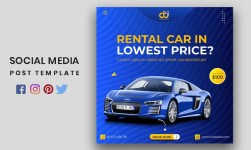 Car Rental Social Media Post or Square Advertising Banner Template