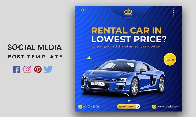 Car Rental Social Media Post or Square Advertising Banner Template