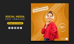 Social Media Post Design Template for Headphone Products Sale