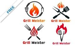 Best 4 Barbecue Logo, Grill Logo, Restaurant Logo Design Vector