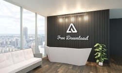Indoor Decoration Wall 3D Logo Mockup PSD Free Download