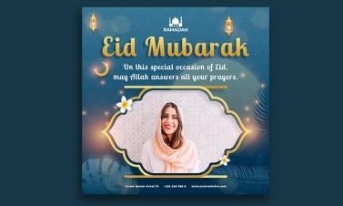 Islamic eid mubarak social media post template design