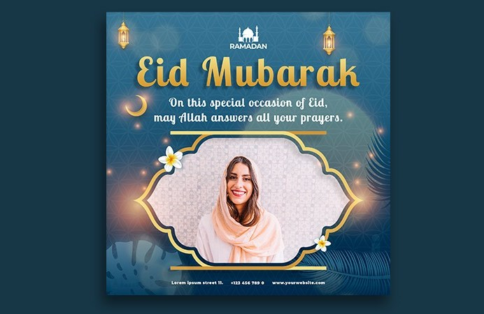 Islamic eid mubarak social media post template design