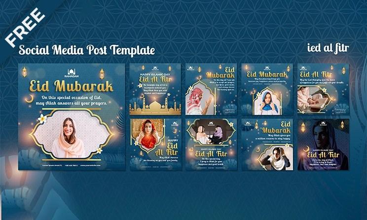 Top 8 Eid Al-Fitr Social Media Posts Design Template
