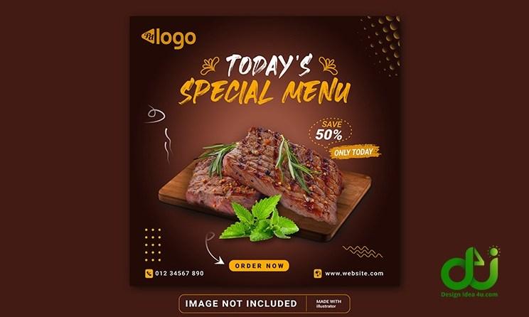 Food Menu Social Media Banner Template