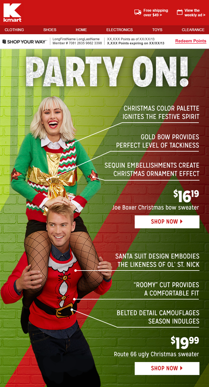 Christmas Apparel Email
