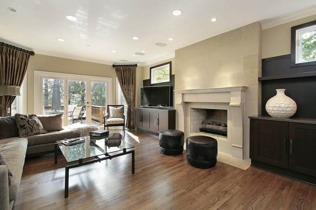 Dark Wood Floor Family Room living room ideas with oak flooring  Centerfieldbar com