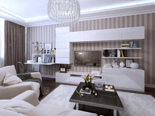 Cam avize ile oturma odası modern tasarım