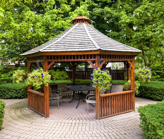 Wood Garden Gazebo On Brick Pavers