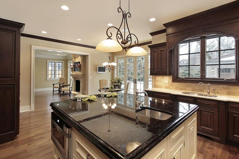 143 Luxury Kitchen Design Ideas   Designing Idea Kitchen with brown cabinets and light color counter with white cabinet  island with black granite countertops