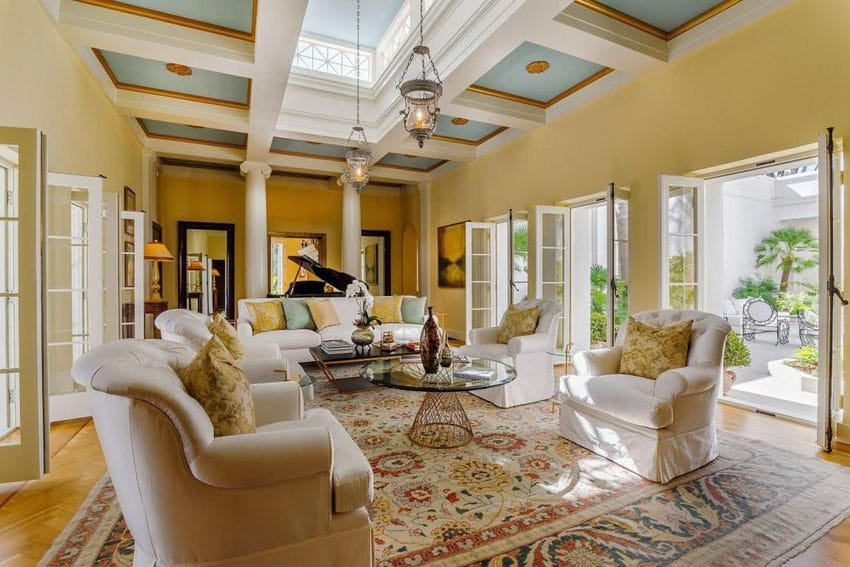 Mustard And Blue Living Room Modern House
