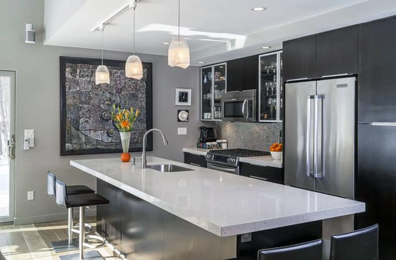 Image Result For Black White Kitchen Cabinets