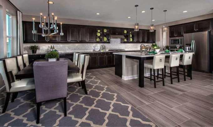 Traditional Dark Cabinet Kitchen With Wood Grain Pocelain Tile Floor