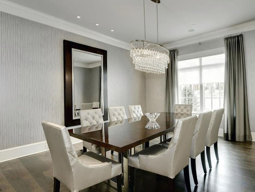 25 Formal Dining Room Ideas  Design Photos    Designing Idea Contemporary dining room with gray textured wallpaper