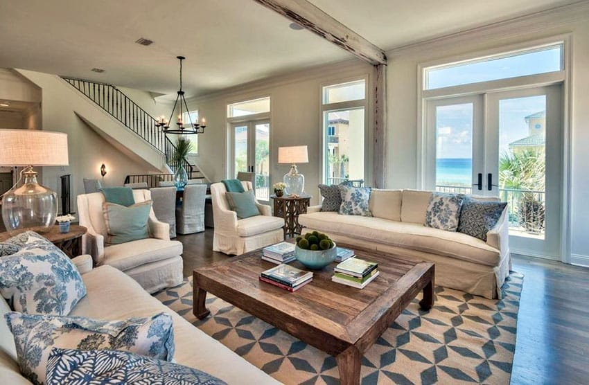 19 Coastal Themed Living Room Designs Decorating Ideas Designing Idea