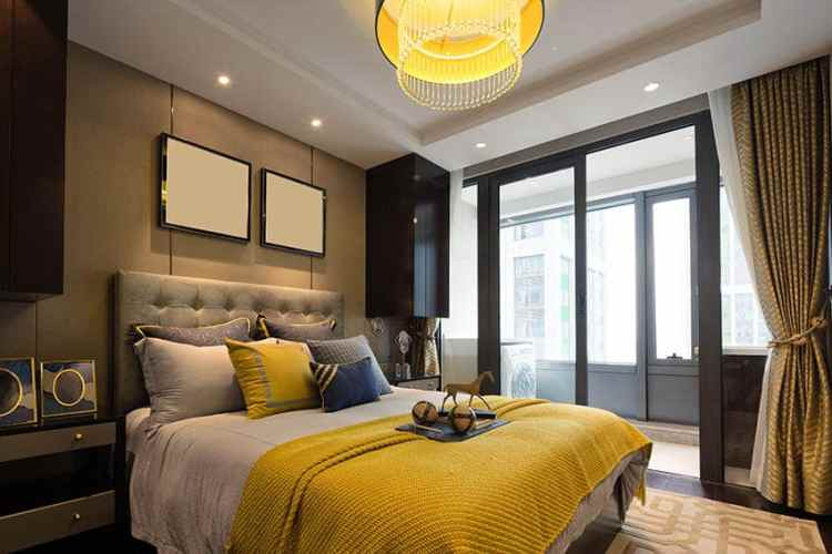 Stylish Gray Yellow Bedroom Designs Designing Idea