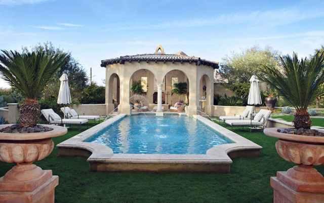Roma kemerli sekizgen yüzme havuzu tasarımı