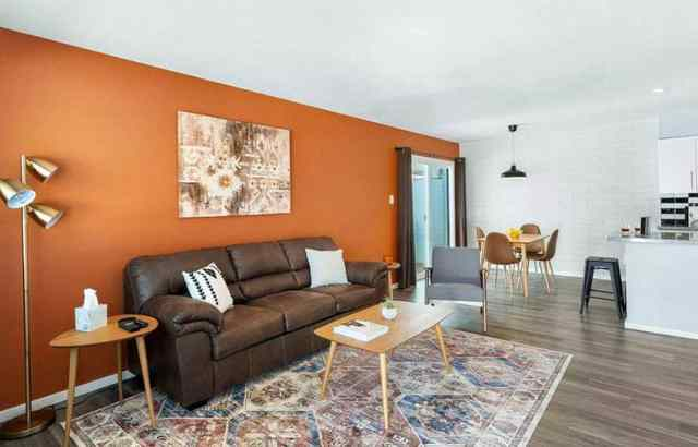 Kahverengi deri kanepe ve narenciye duvar boyası ile oturma odası
