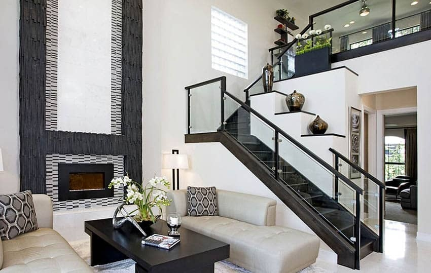 60 Gorgeous Stair Railing Ideas Designing Idea   Black Modern Stair Railing   Raised Ranch   Outdoor   Stainless Steel   Colour Combination   Creative Diy