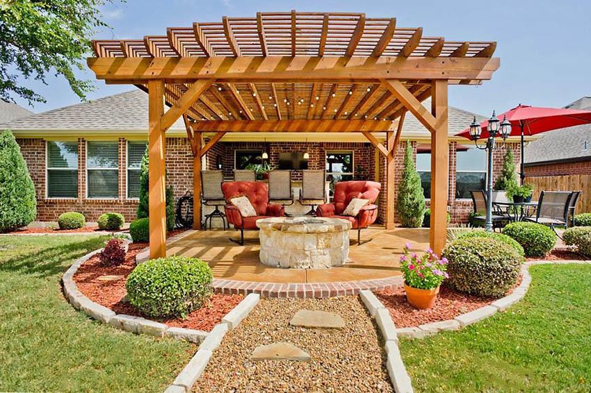 pergola with fire pit backyard designs