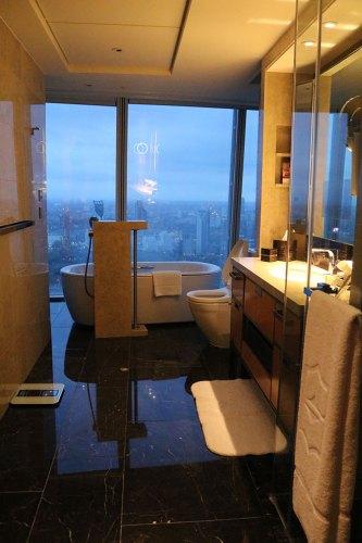 restroom at the shangri la shard london