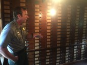 NPS Park Ranger Alan Banks shows us the collection room where the Olmsted Firm kept their plans and documents