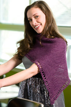 The Five Peaks Shawl with Tunisian eyelet border; image © F+W Media.