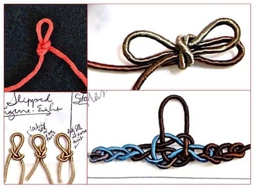 "Starting slip knots: reinforced with a twist; three-loop; fancy ""jury mast knot""."