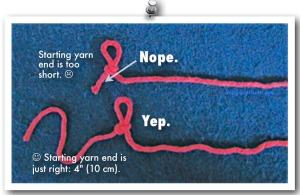 A starting yarn end that is too short vs. just right.