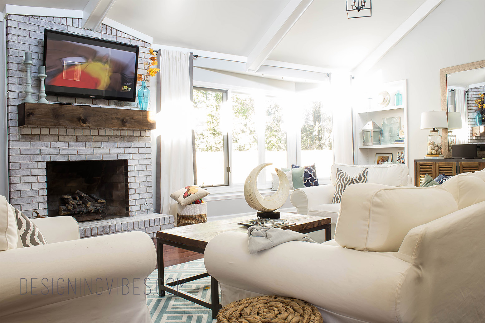 Captivating White And Grey Living Room
