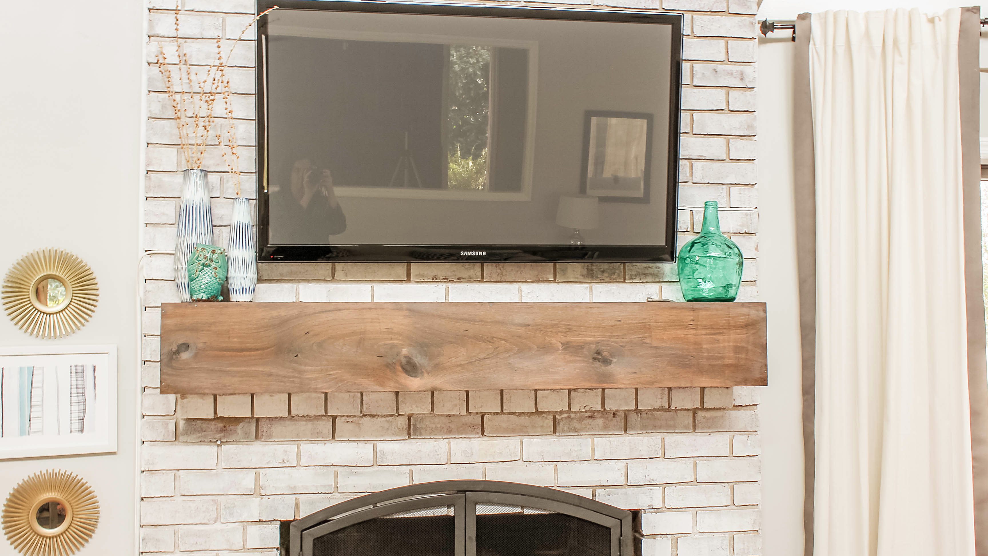 how to mount a tv over a brick fireplace and hide the wires rh designingvibes com hide tv wires brick wall Family Room with TV On Wall Decorating Ideas