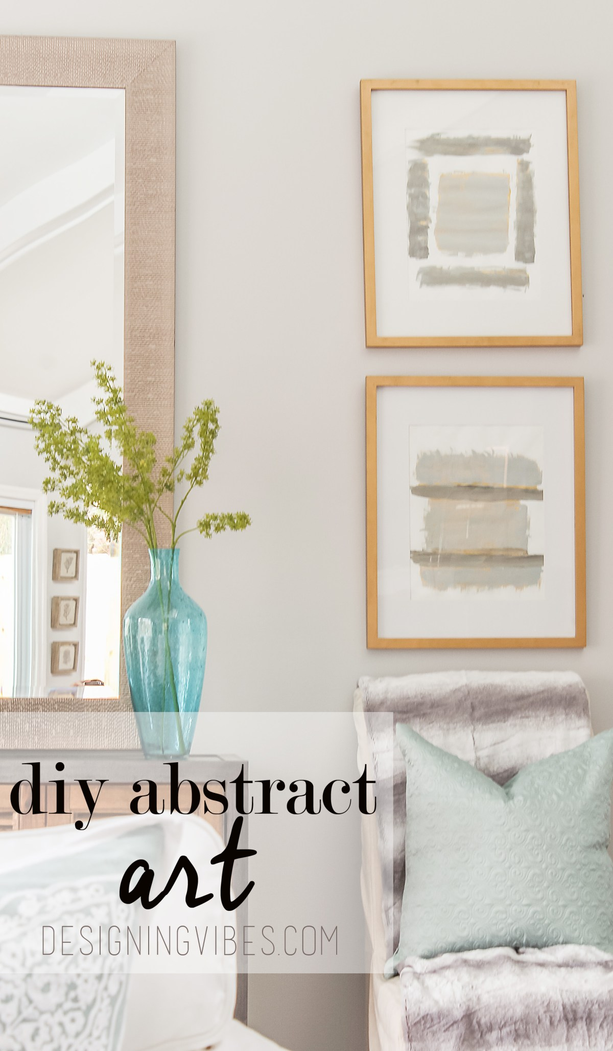DIY gold and grey abstract art tutorial