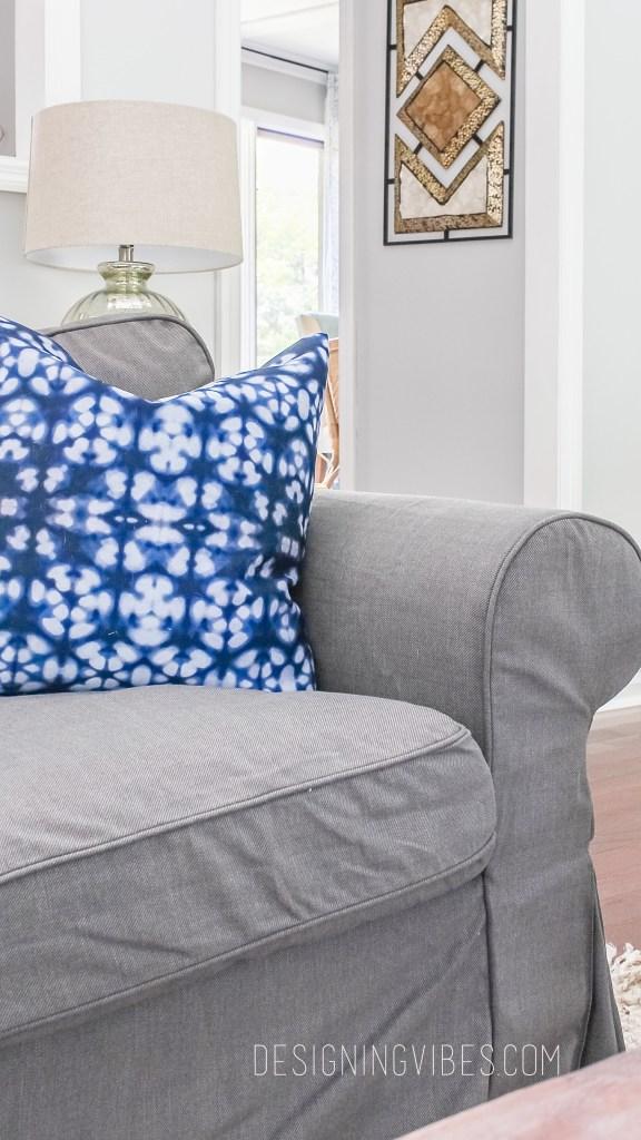 shibori pillows grey couch