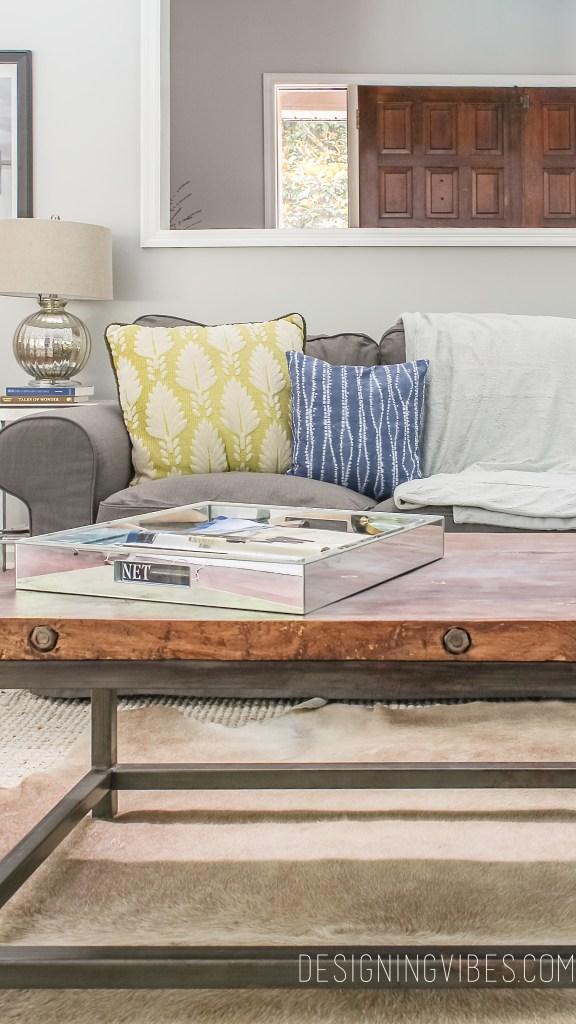 shibori pilllows on grey ikea couch