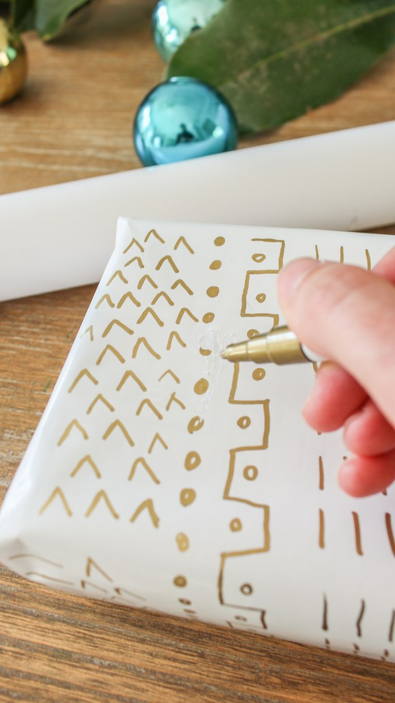 mud cloth wrapping paper christmas diy