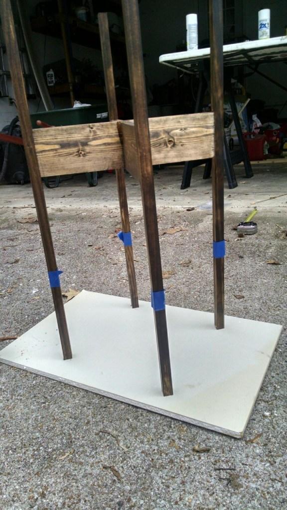 diy mid-century modern plant stand with wood dip-dye legs