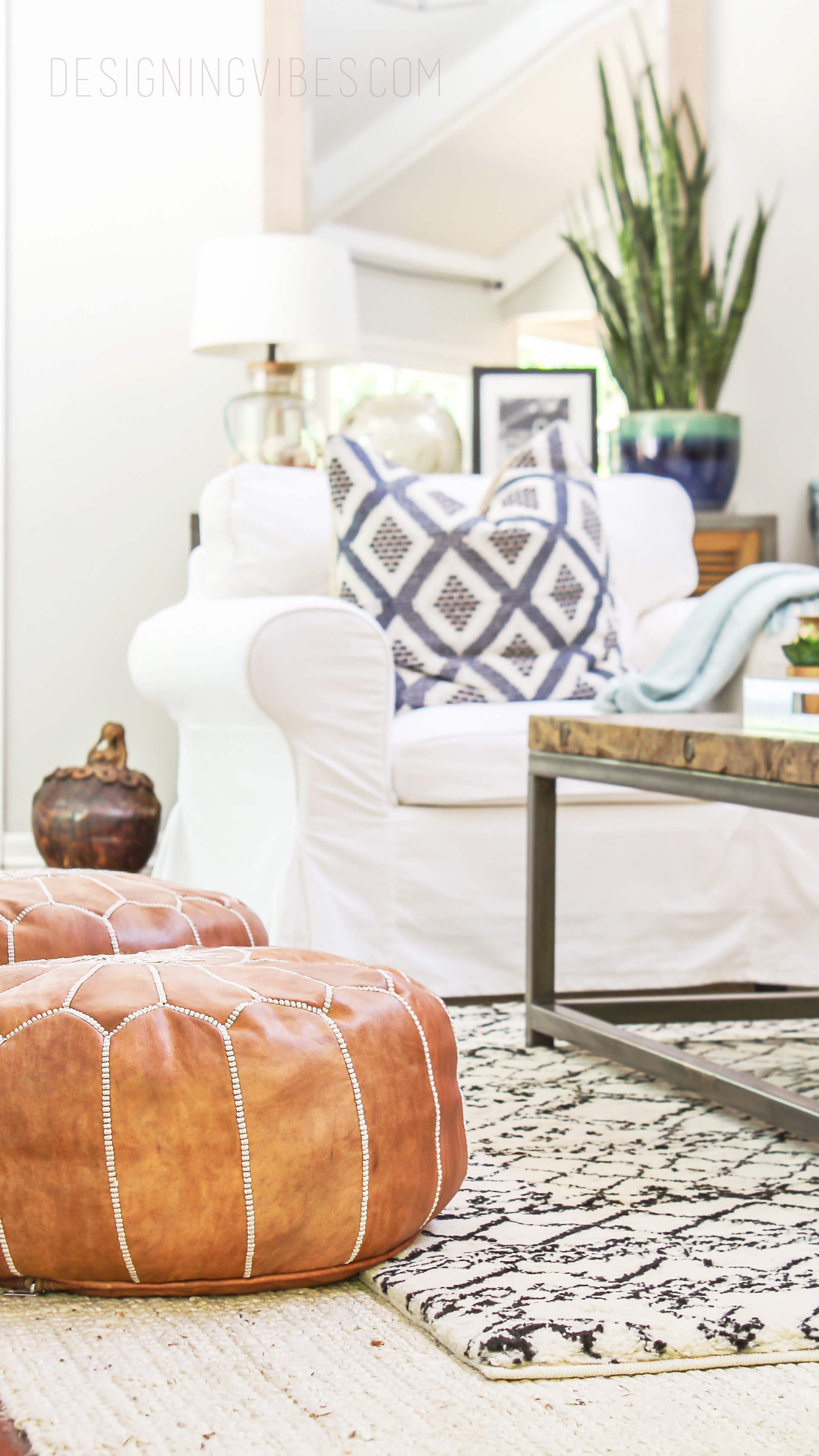 How to Buy Leather Moroccan Poufs on the Cheap- Boho Leather Ottomans