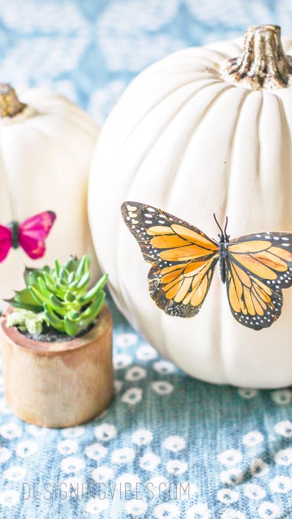 diy no-carve pumpkin. boho fall decor