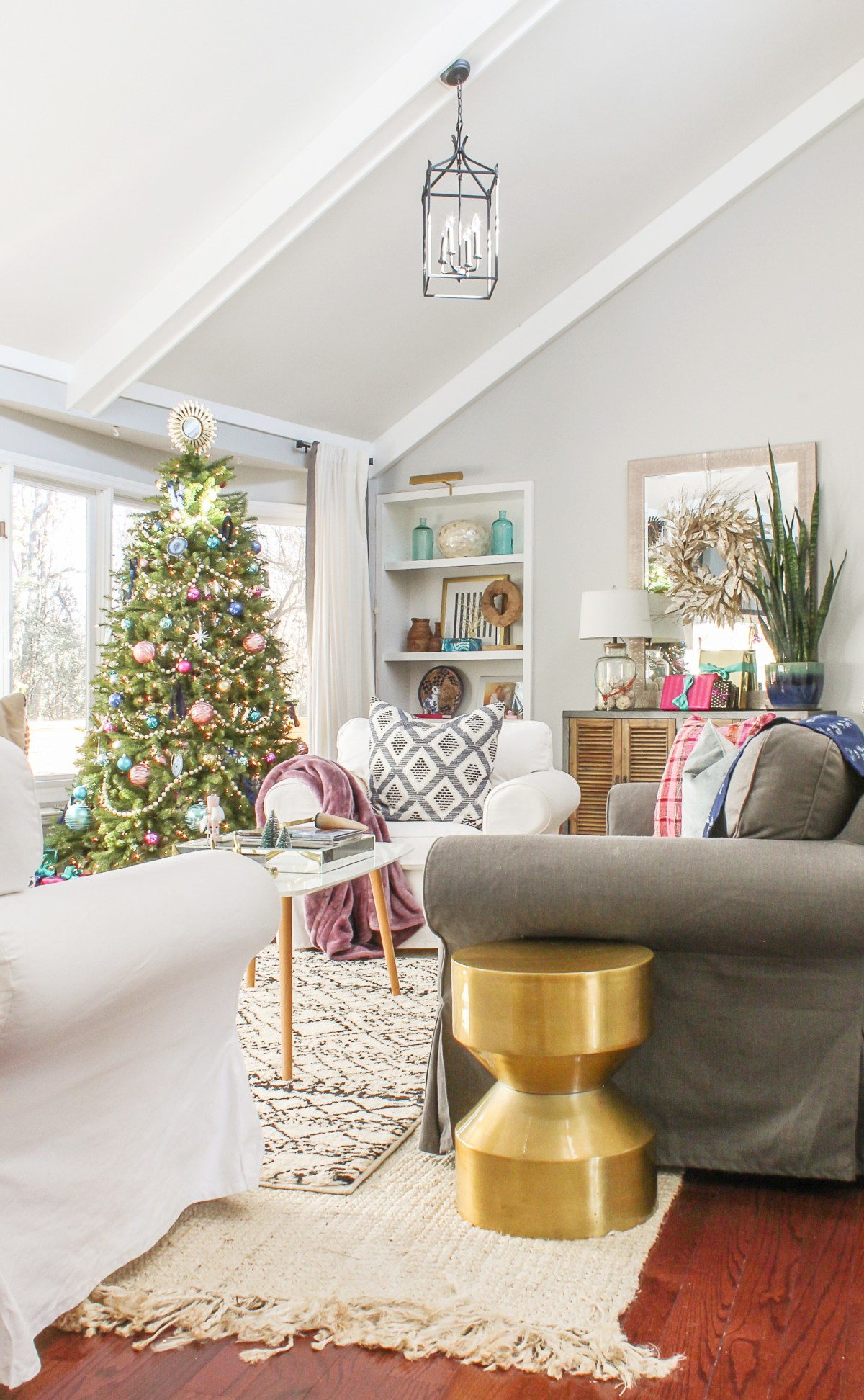 Boho Chic Christmas Home Tour 2017 Part 1 - Modern Christmas Decor