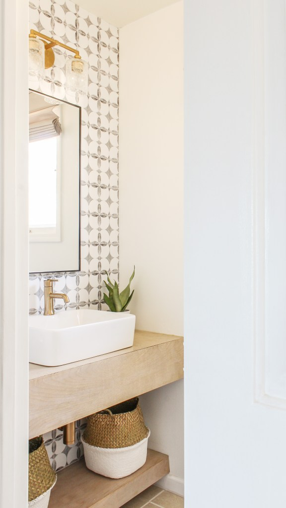 boho modern powder room reveal