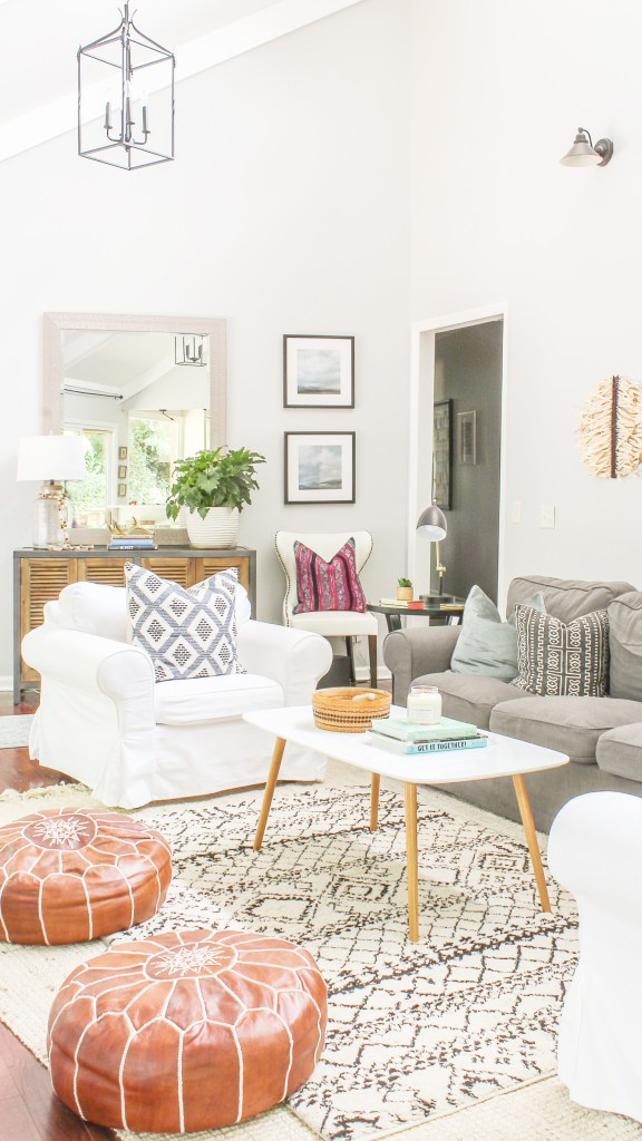 modern farmhouse living room with boho touches by Designing Vibes