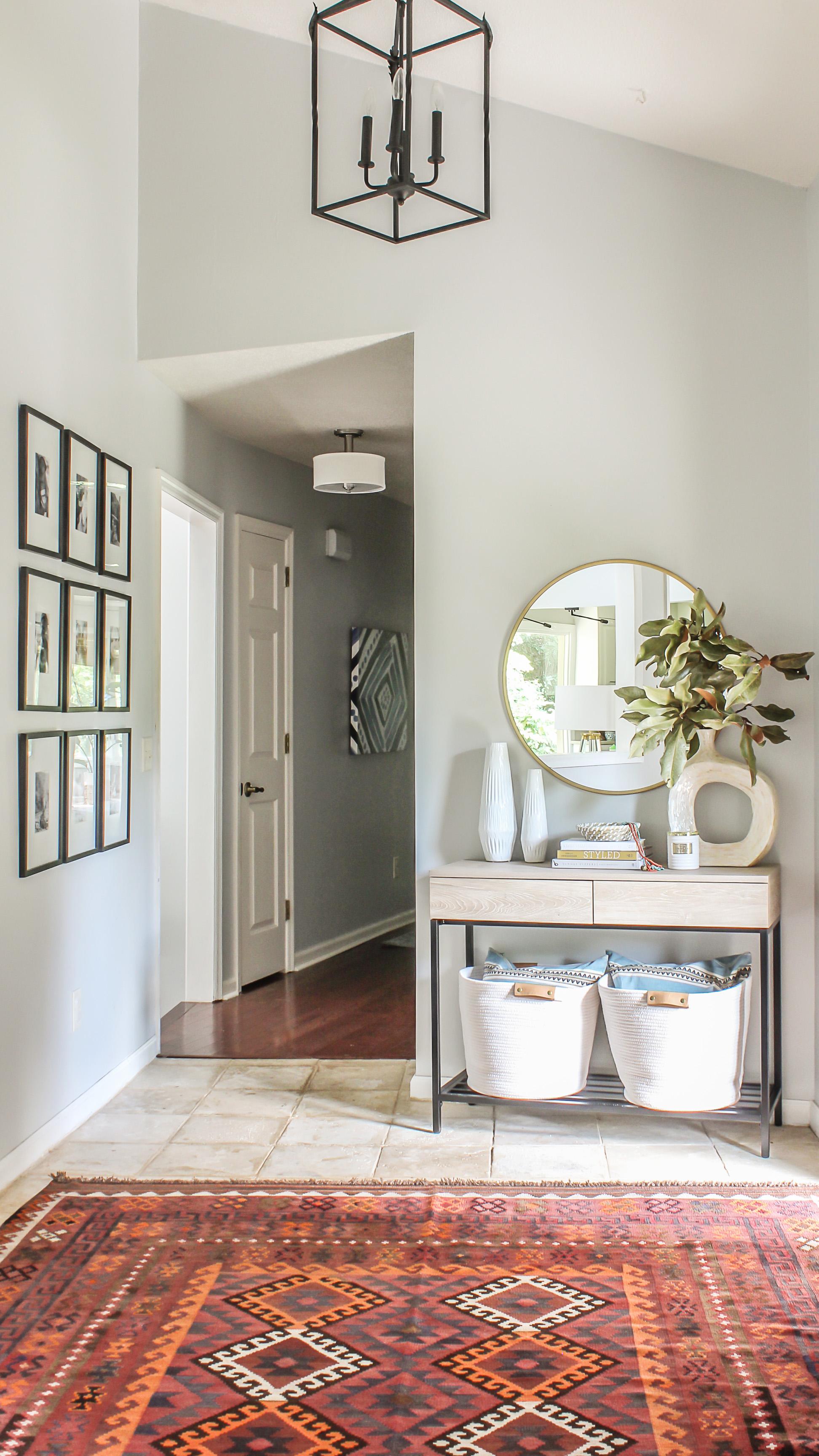 No Foyer Ideas : Modern farmhouse meets boho foyer makeover budget friendly decor