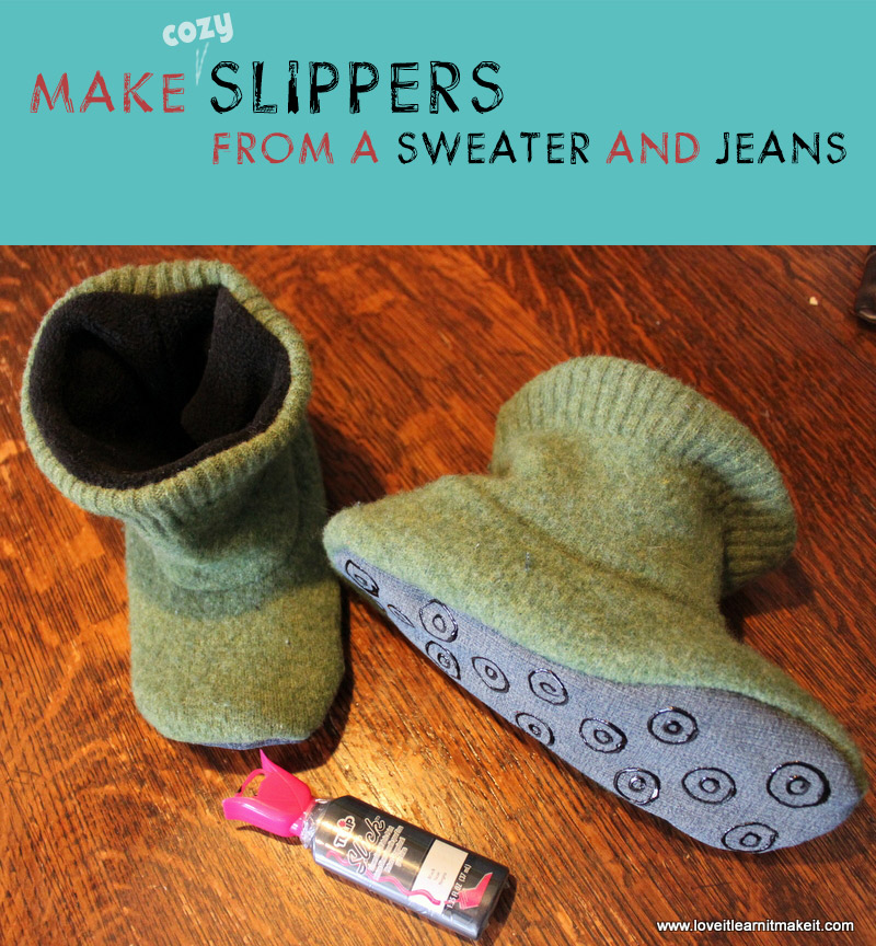 Make A Sweater And Jeans Into Cozy Slippers