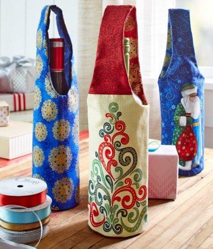 wine-bottle-bags, gift giving, diy