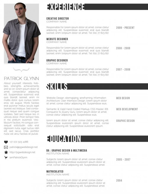 free creative amp professional photoshop cv template